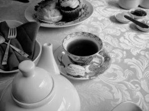 black and white tea service