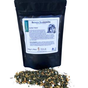 Bag of Genmaicha tea with dry tea