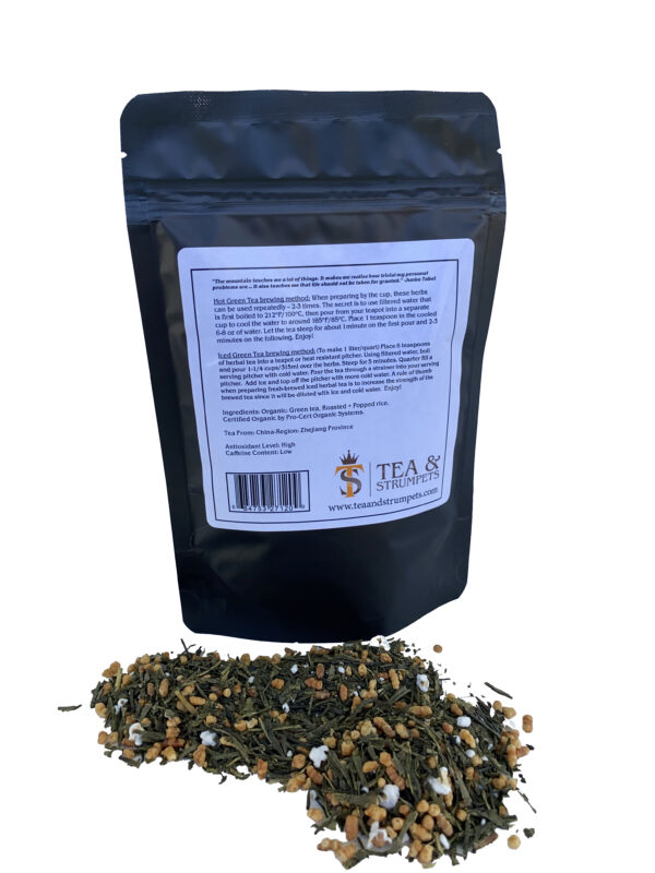 back of seven summits genmaicha tea packaging with loose tea leaves displayed